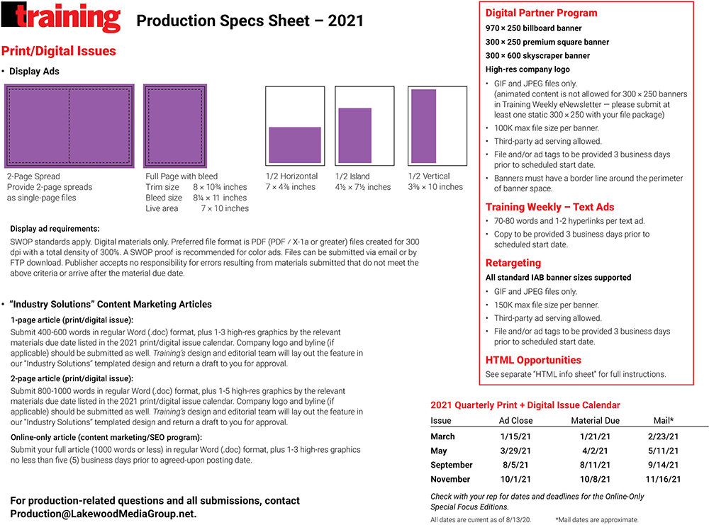 TRG: Production Specs
